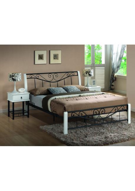 Łóżko Parma 160x200 białe / czarne