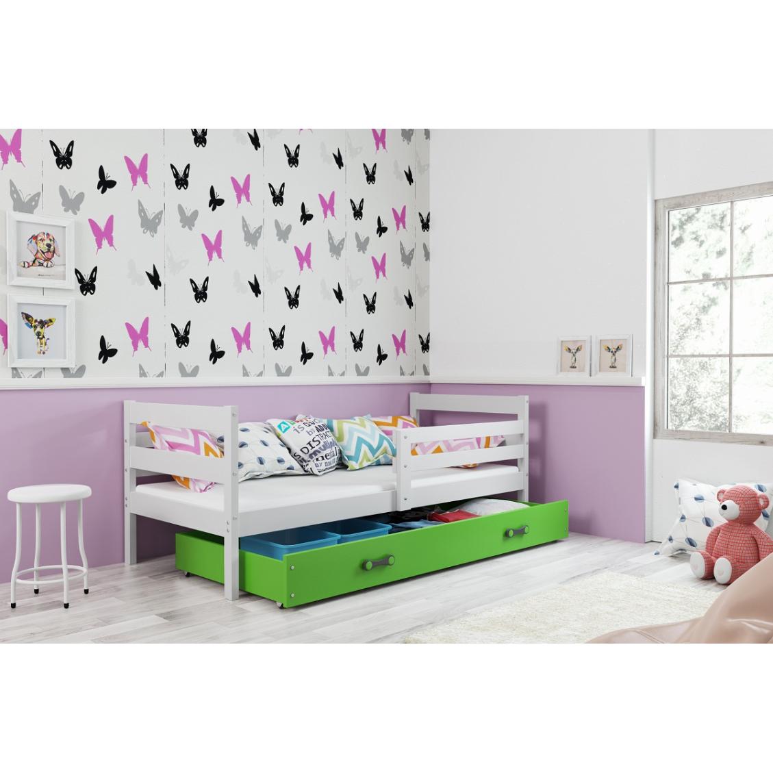 łóżko Parterowe Eryk Jednoosobowe 190x80 Białe