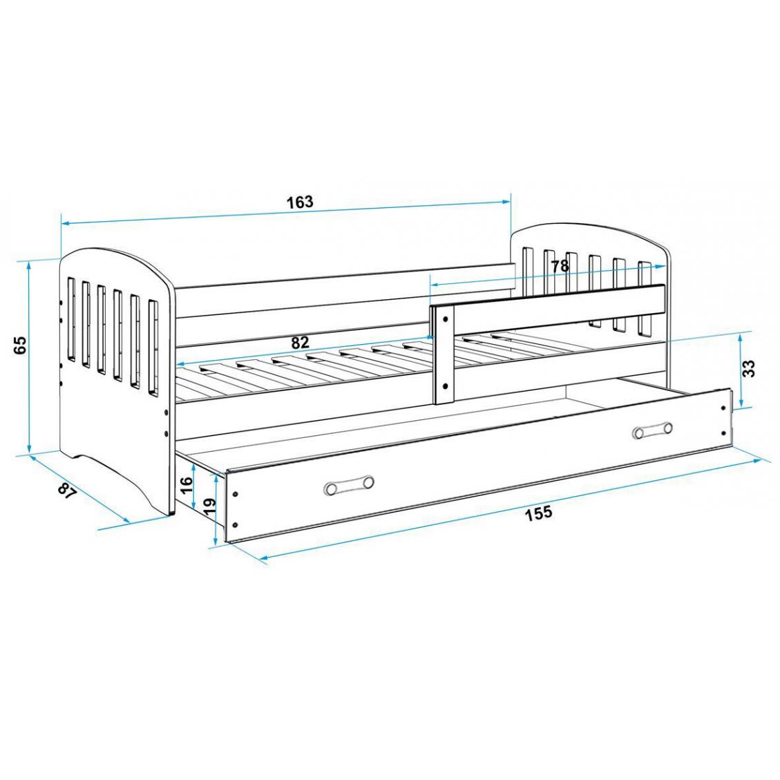 Classic Łóżko pojedyncze z szufladą 160x80