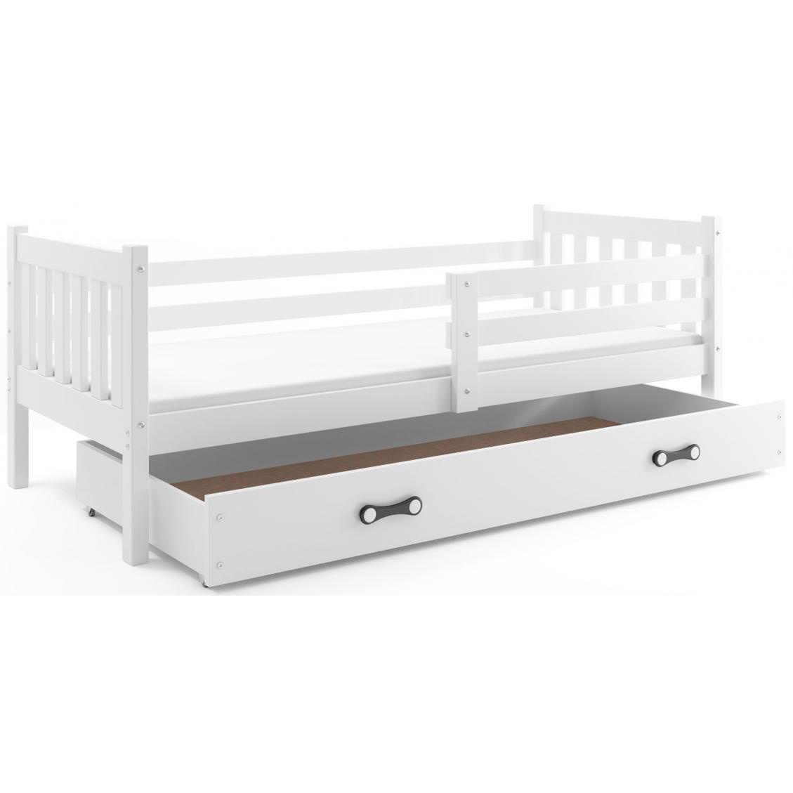 łóżko Carino Pojedyncze Z Szufladą 190x80 Białe