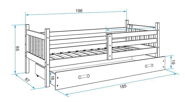 Łóżko CARINO pojedyncze z szufladą 190x 80 cm białe