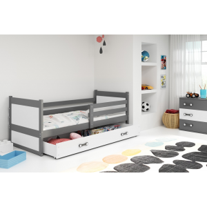 Łóżko RICO pojedyncze z szufladą 190x 80 cm grafitowe