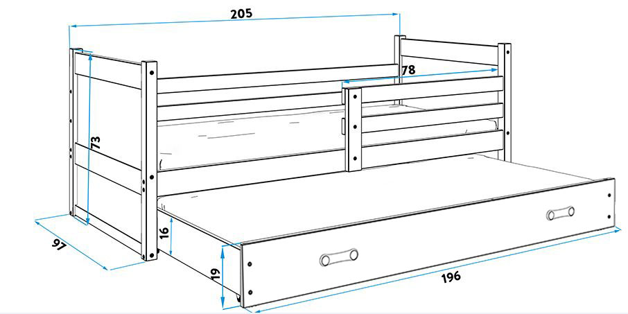 Łóżko RICO 2 osobowe wysuwane 200x 90 sosna