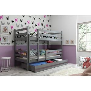 Łóżko Piętrowe Dwuosobowe ERYK 160x80 Z Szufladą Grafit