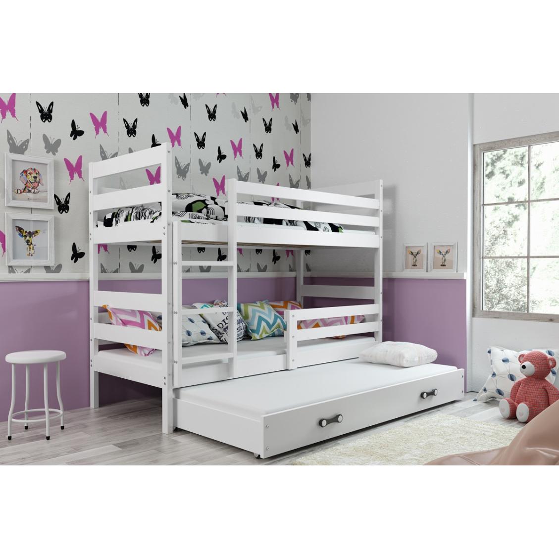 łóżko Piętrowe Trzyosobowe Eryk 200x90 Białe