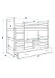 Łóżko piętrowe 2 osobowe RICO 160 x 80 biały