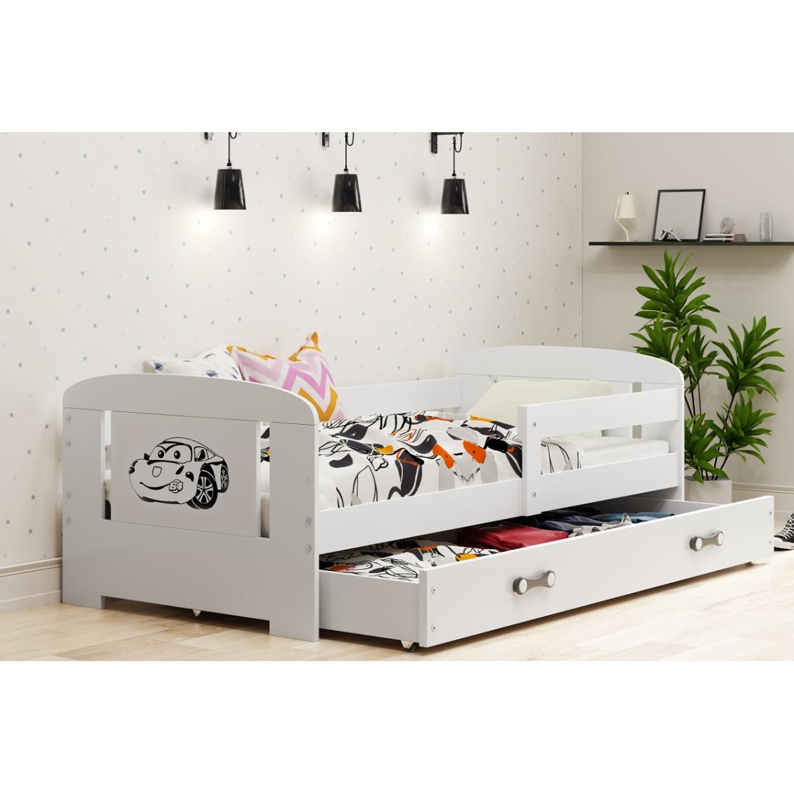 łóżko Jednoosobowe Dziecięce Filip Z Szufladą 160x80 Cm Biały