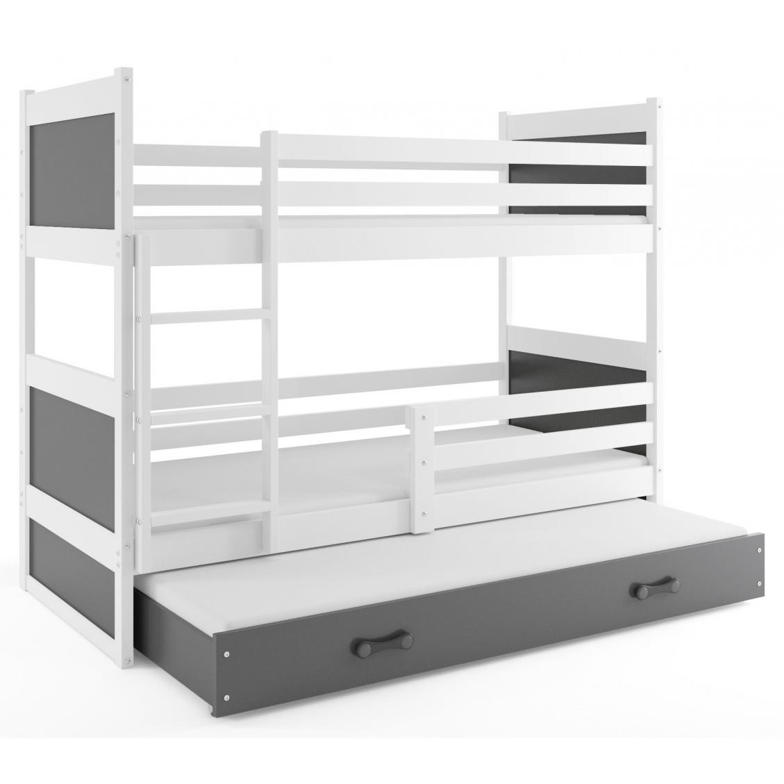 Rico Łóżko piętrowe 3-osobowe 200x90 rama biała