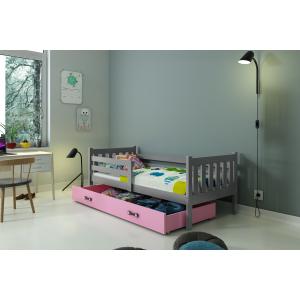 Łóżko CARINO pojedyncze z szufladą 190x 80 cm grafitowe