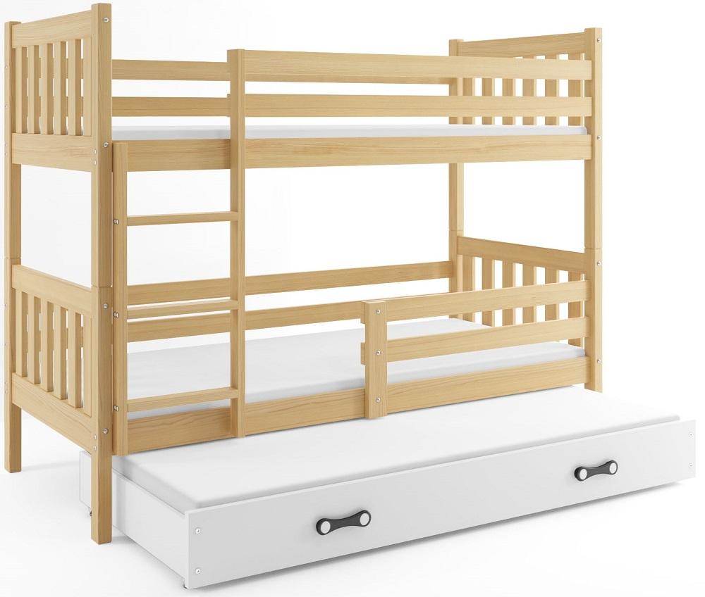 Łóżko Piętrowe Trzyosobowe CARINO 190x80 Sosna