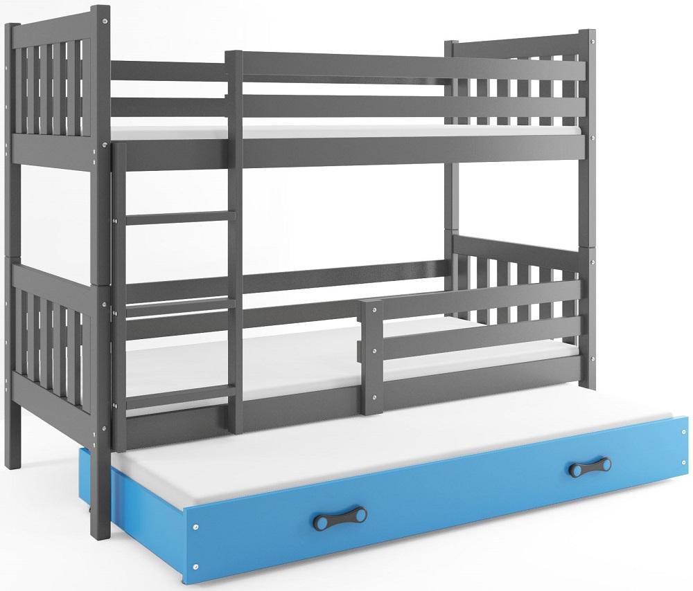 Łóżko Piętrowe Trzyosobowe CARINO 190x80 Grafit