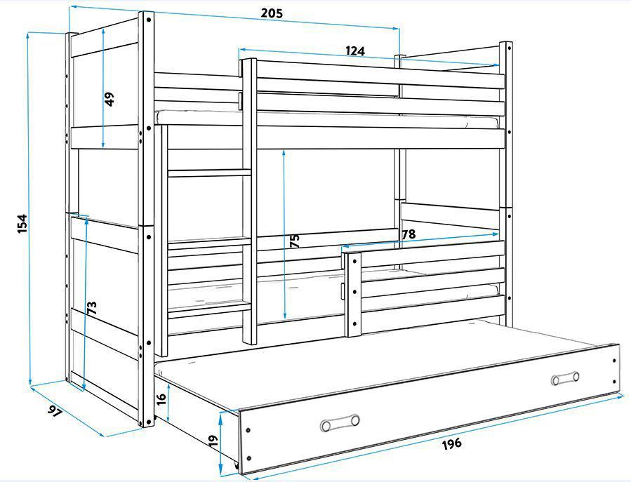 Rico Łóżko piętrowe 3-osobowe 200x90 rama grafitowa