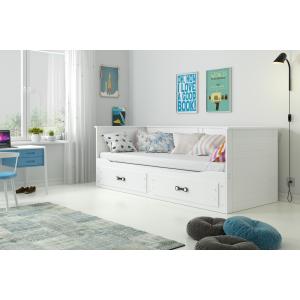 Łóżko podwójne wysuwane HERMES 200x80 białe